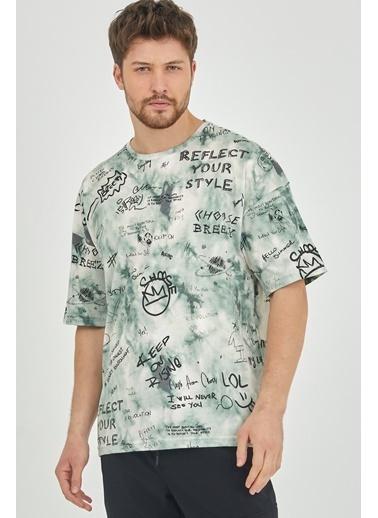 XHAN Yeşil Baskılı Salaş T-Shirt 1Kxe1-44631-08 Yeşil